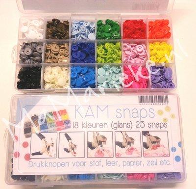 Kamsnaps tang en doos, 450 drukkertjes, 18 kleuren glans