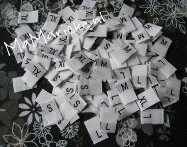 Geweven maatlabels: S, M, L, XL, XXL