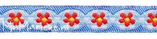 blauw met rode bloemetjes sierband