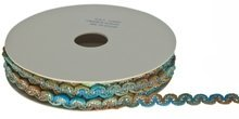 Blauw-groen-oker zigzagband  metallic