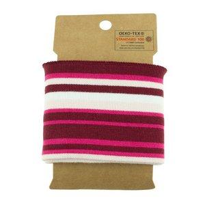 Cuff - multi streep fuchsia/bordeaux/roze