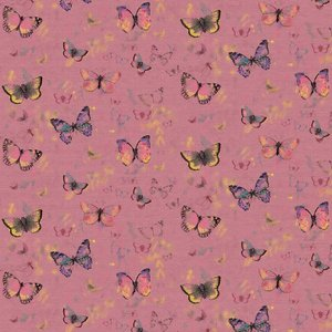 Butterflies roze - french terry