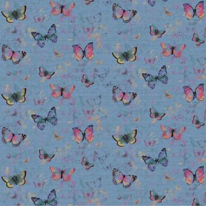 Butterflies blauw - french terry